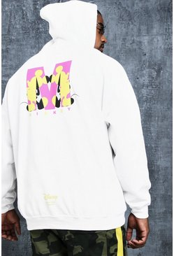 Mens White Disney Big And Tall Mickey 'M' Print Hoodie