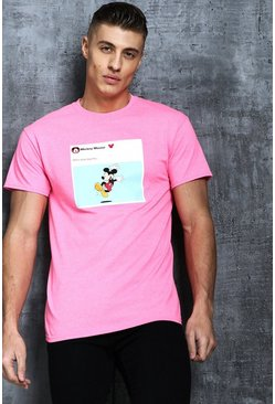 T-shirt imprimé Pay Day Mickey Disney, Rose néon, Homme