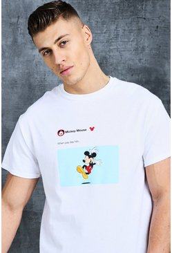 Mens White Disney Mickey Pay Day Meme Printed Tee