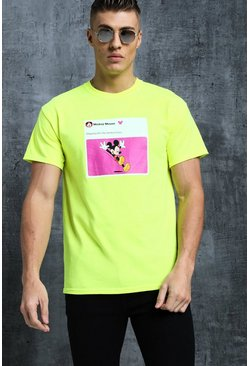 Mens Neon-green Disney Mickey Weekend Meme Printed Tee