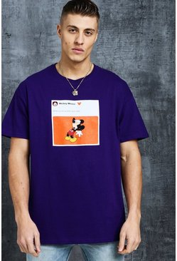 Mens Purple Disney Mickey Year Older Meme Oversized Tee