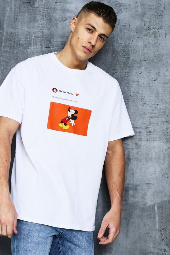White Disney Mickey Year Older Meme Oversized Tee