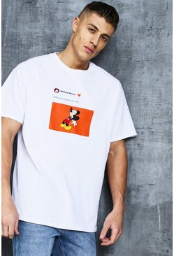 Mens White Disney Mickey Year Older Meme Oversized Tee