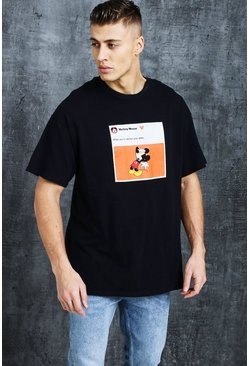 Mens Black Disney Mickey Year Older Meme Oversized Tee