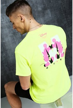 Mens Neon-green Disney Mickey 'M' Chest Print Tee