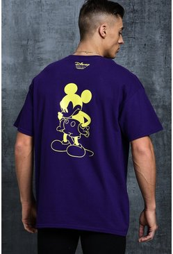 Mens Purple Disney Oversized Mickey Silhouette Printed Tee