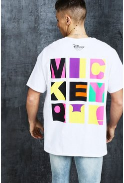 Mens White Disney Oversized Mickey Square Printed Tee