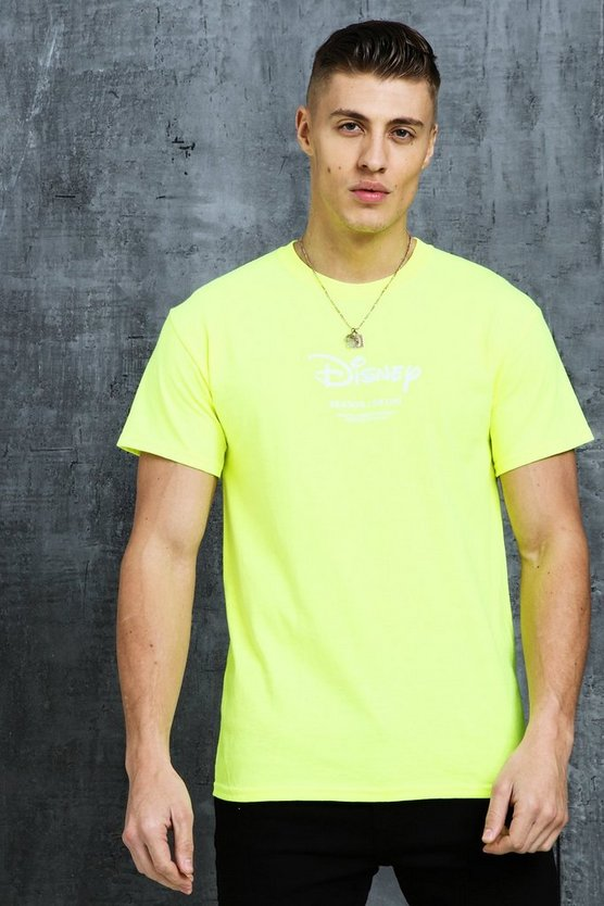 Mens Neon-green Disney SS19 Placement Print T-Shirt