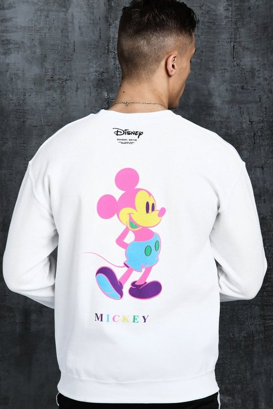 White Disney Mickey Multi Colour Printed Sweat