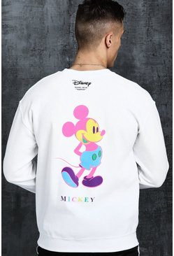 Mens White Disney Mickey Multi Colour Printed Sweat