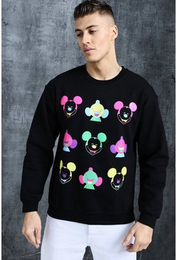 Mens Black Disney Happy Mickey Printed Sweat