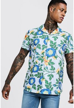 Mens White Floral Stripe Short Sleeve Revere Shirt