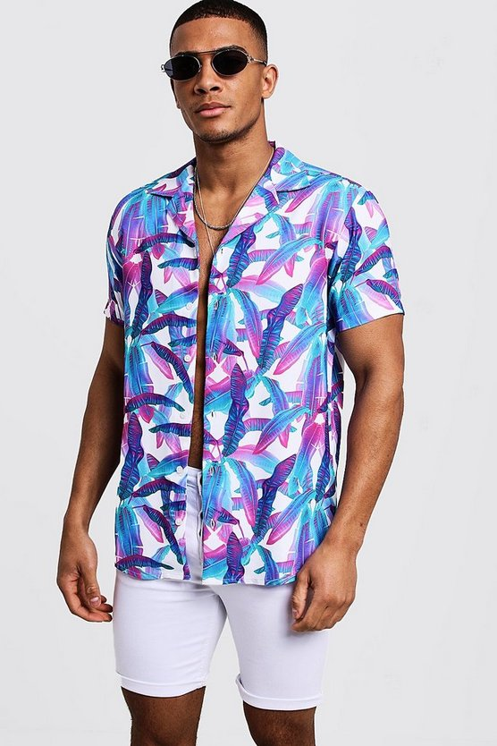 Cobalt Leaf Print Short Sleeve Revere Shirt