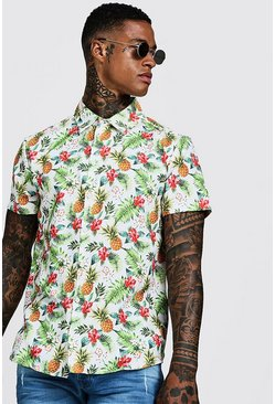 Mens White Pineapple Print Short Sleeve Shirt