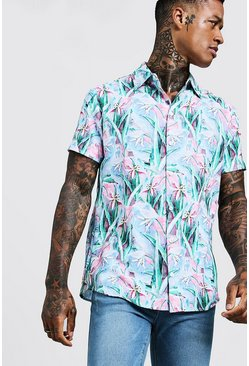 Mens Pale pink Painted Floral Print Short Sleeve Shirt
