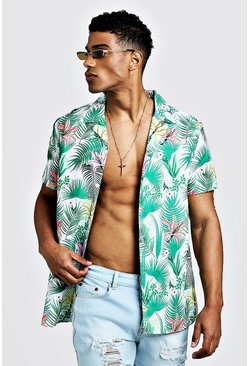 Mens Green Palm Print Short Sleeve Revere Shirt