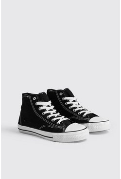 Mens Black Stitch Detail Canvas Hi-Top