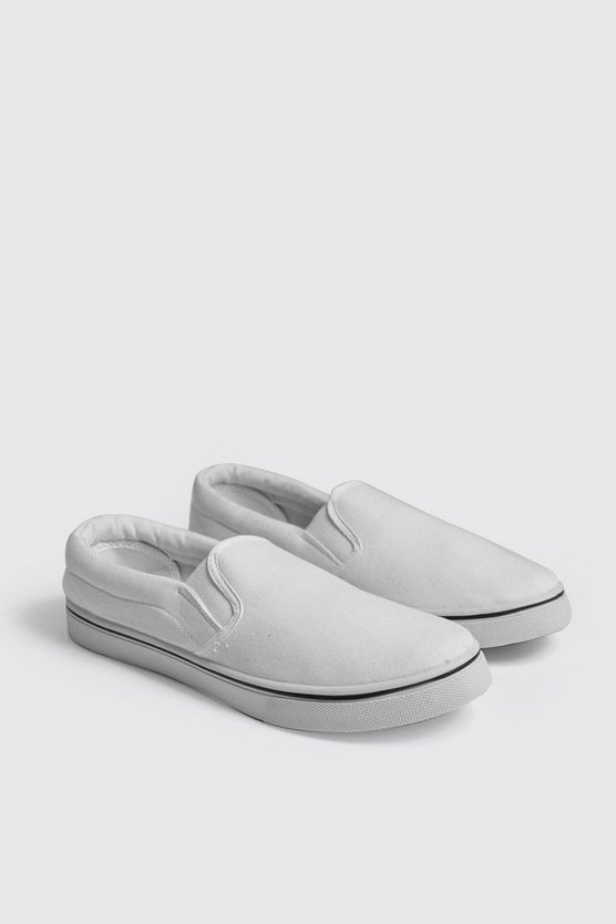 White Slip On Canvas Pump