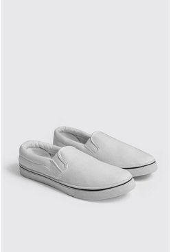 Mens White Slip On Canvas Pump
