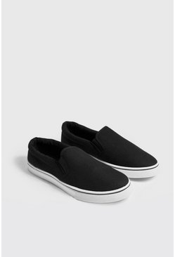 Mens Black Slip On Canvas Pump