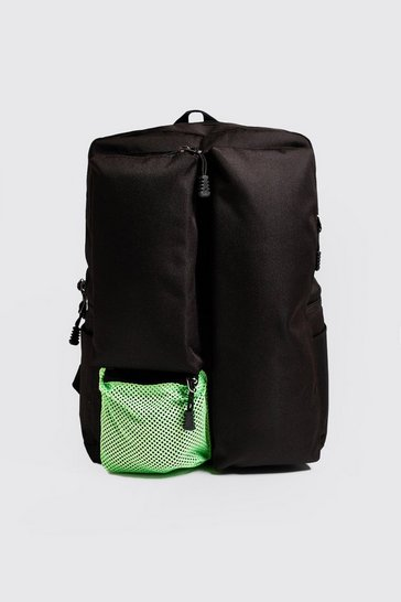 Mens Black Neon Utility Backpack