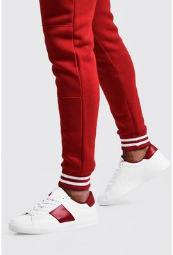 Mens Red Side Tape Detail Trainer
