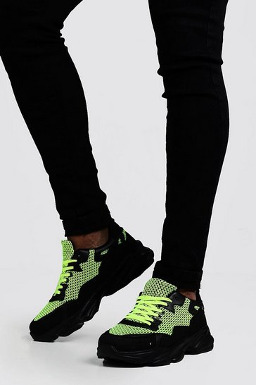 Mens Black Neon Mesh Chunky Trainer