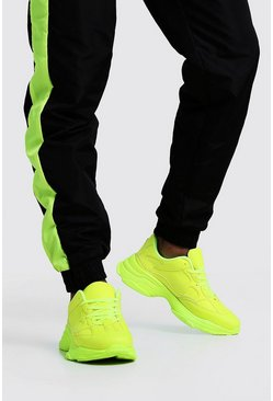 Mens Neon-yellow Neon Sole Chunky Trainer