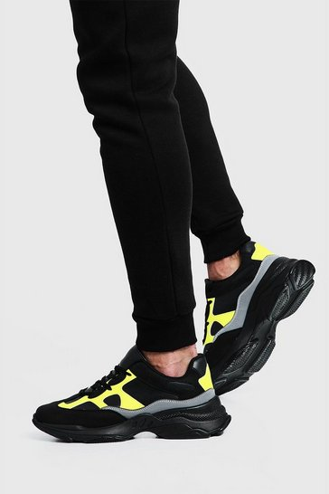Mens Black Neon & Reflective Chunky Trainer