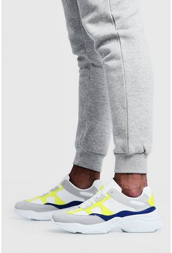 Mens Yellow Multi Panel Chunky Trainer