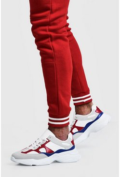 Mens Red Multi Panel Chunky Trainer