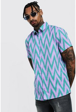 Mens Purple Chevron Print Short Sleeve Shirt