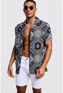 Mens Navy Bandana Print Short Sleeve Revere Shirt
