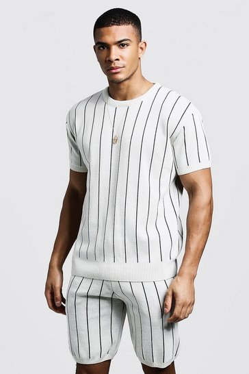 Mens Ivory Knitted T-Shirt & Shorts Set With Pinstripe