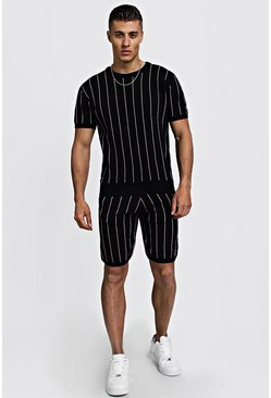 Mens Navy Knitted T-Shirt & Shorts Set With Pinstripe