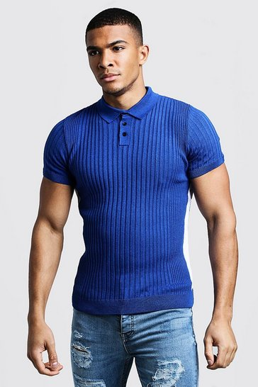 Mens Cobalt Knitted Ribbed Polo With Side Stripes