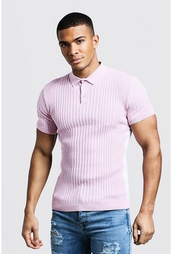 Mens Dusky pink Knitted Ribbed Polo With Side Stripes