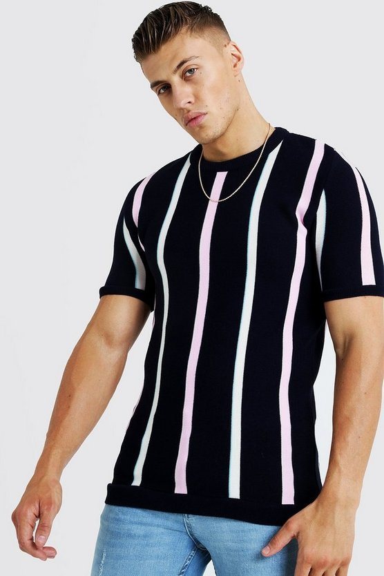 Mens Navy Knitted T-Shirt With Stripe