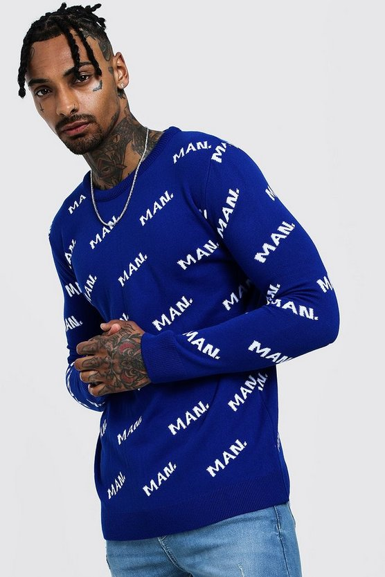 Mens Cobalt MAN Knitted Jumper