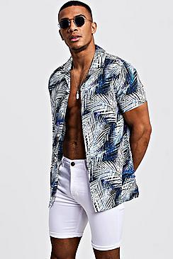 Bright Palm Print Short Sleeve Revere Shirt