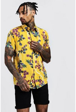 Mens Yellow Floral Stripe Print Short Sleeve Shirt