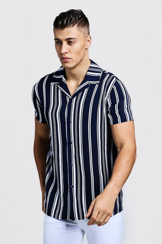 Mens Navy Vertical Stripe Short Sleeve Revere Shirt