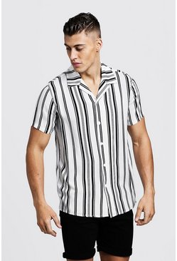 Mens White Vertical Stripe Short Sleeve Revere Shirt