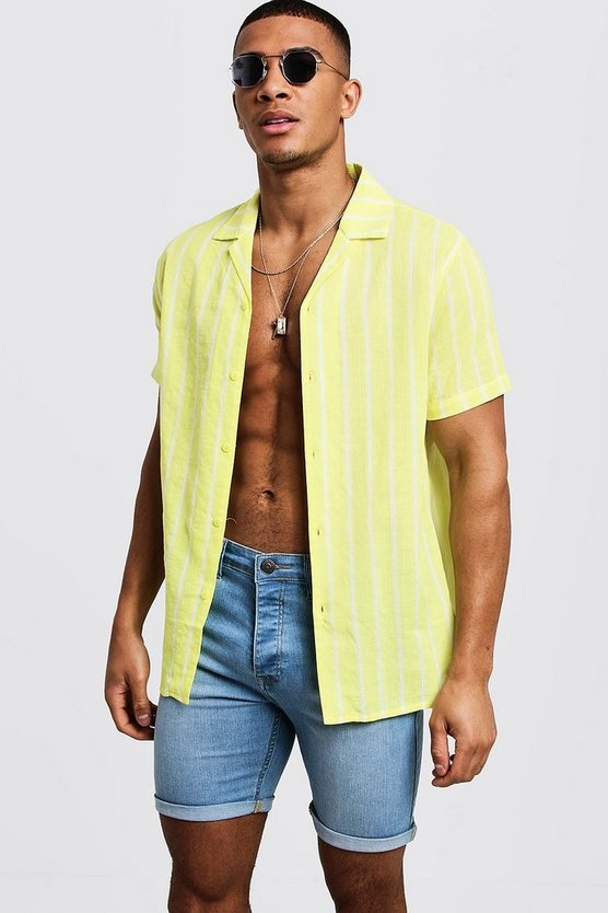 Mens Neon-yellow Neon Stripe Short Sleeve Revere Shirt