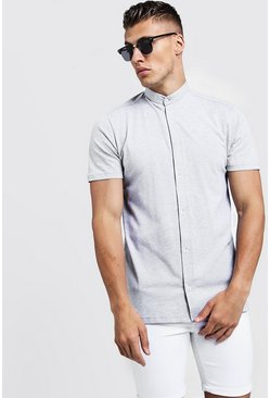 Grey Short Sleeve Grandad Collar Jersey Shirt