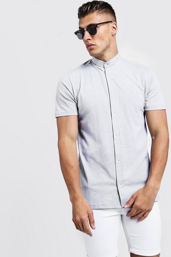 Mens Grey Short Sleeve Grandad Collar Jersey Shirt