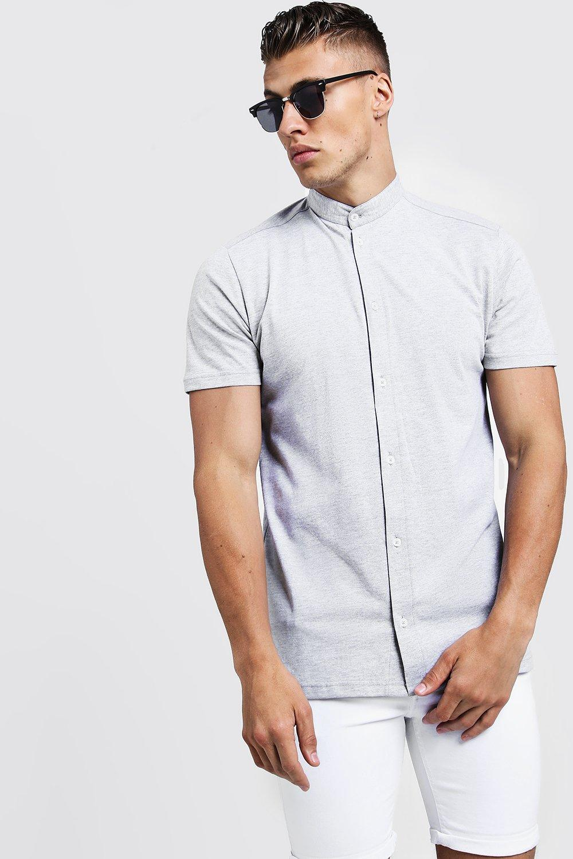 75b819e84d58e5 Mens Grey Short Sleeve Grandad Collar Jersey Shirt. Hover to zoom. Close  video