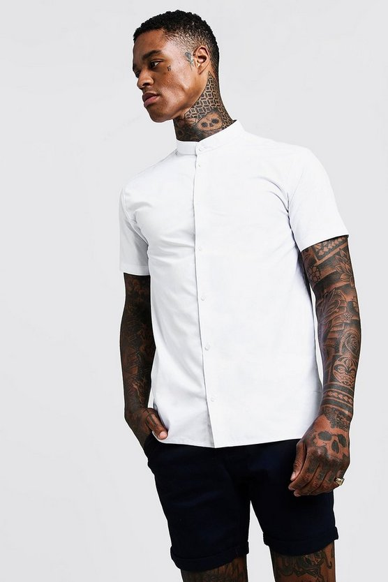 Mens White Slim Fit Short Sleeve Grandad Collar Shirt