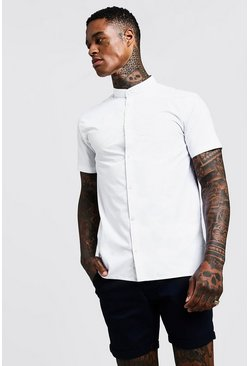 White Slim Fit Short Sleeve Grandad Collar Shirt
