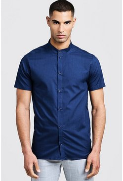 Navy Slim Fit Short Sleeve Grandad Collar Shirt